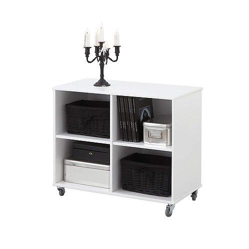 βιβλιοθήκη-ραφιέρα σε λευκή λάκα με ροδάκια, 83Χ42Χ69 εκ.Για το καθιστικό ή το νεανικό-παιδικό δωμάτιο
