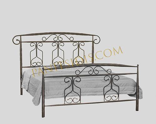 διπλό μεταλλικό-σιδερένιο κρεβάτι για στρώμα 160Χ200 σε πολλά χρώματα μετάλλου.Metal bed 160X200
