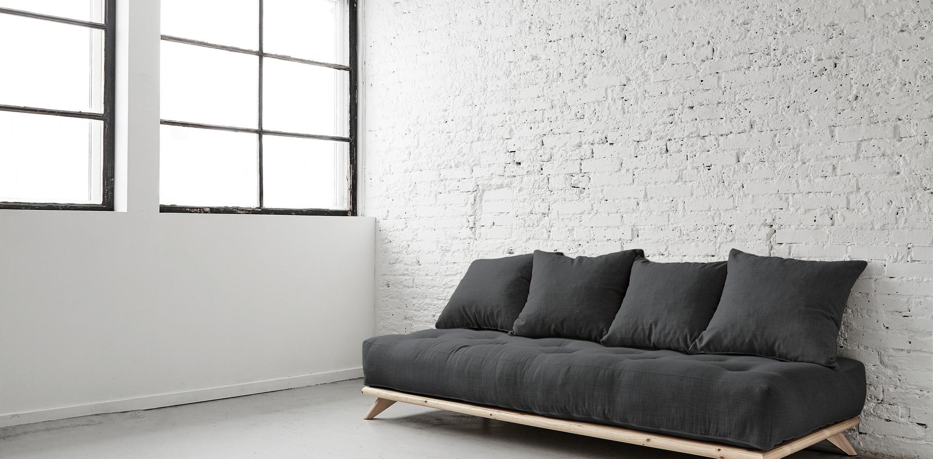 καναπές-κρεβάτι μονό από μασίφ ξύλο με στρώμα 90Χ200 futon