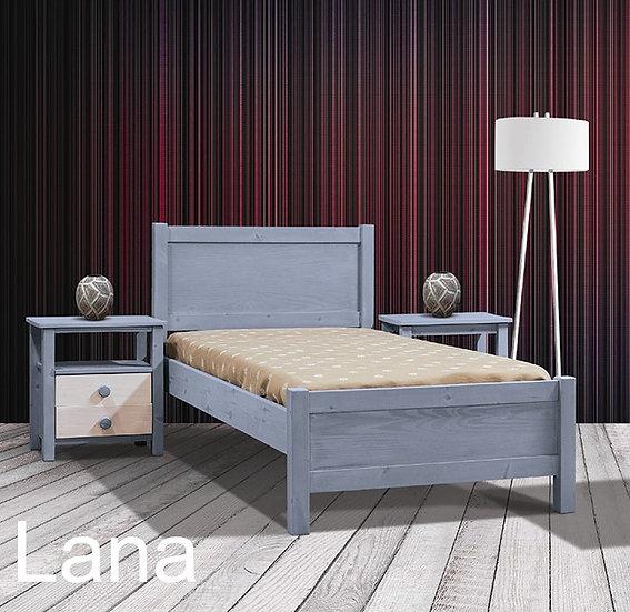 μονό ξύλινο κρεβάτι για στρώμα 90Χ190 εκ., σε πολλά χρώματα λάκας και σε λευκές πατίνες