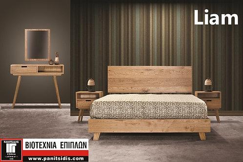 διπλό ξύλινο κρεβάτι από δρυ, σε φυσικό χρώμα για στρωμα 150Χ200 κρεβατοκάμαρα