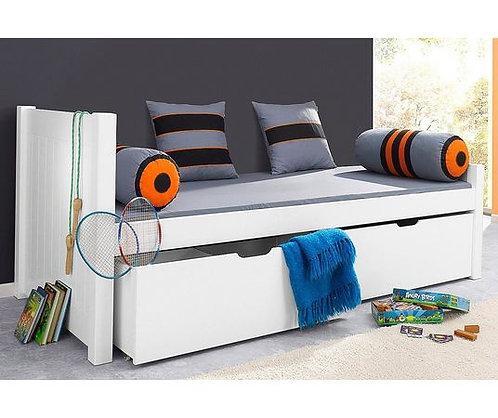 μονό ξύλινο κρεβάτι σε λευκό ξύλο με 2 βαθειά συρτάρια