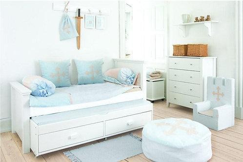 μονό παιδικό κρεβάτι με 2ο συρόμενο και 2 συρτάρια σε λευκό χρώμα νερού