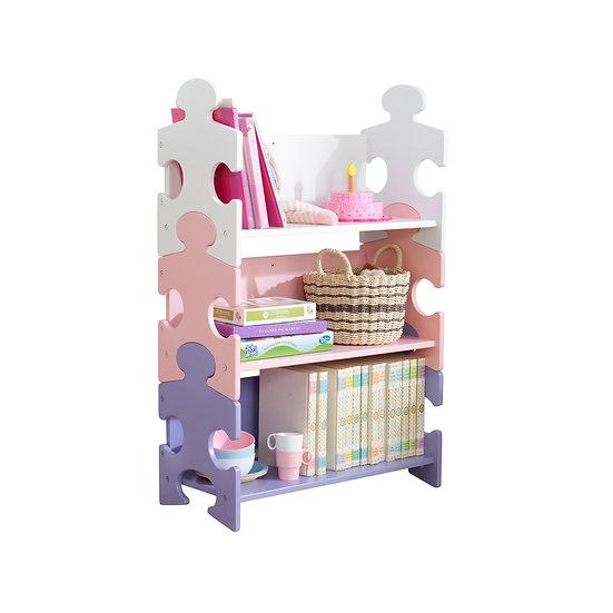 παιδική βιβλιοθήκη ραφιέρα από ξύλο σε σχήμα puzzle kidkraft