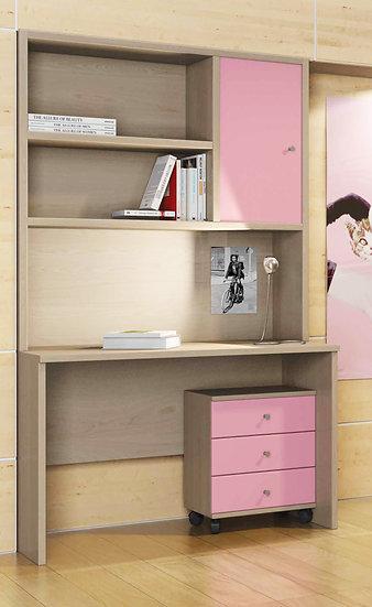 παιδικό-εφηβικό-νεανικό γραφείο με συρταριέρα και επικαθήμενη βιβλιοθήκη σε πολλά χρώματα επιλογής σας