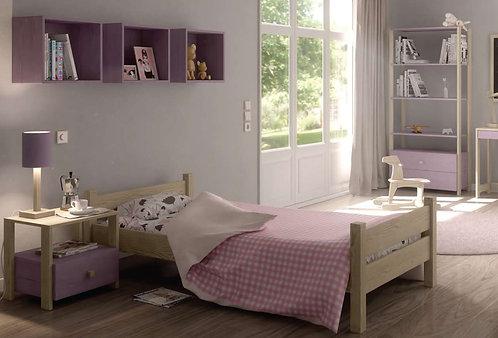 μονό ξύλινο κρεβάτι εφηβικό-νεανικό από ξύλο οξιάς