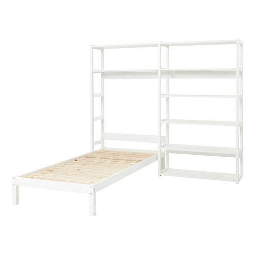 μονό κρεβάτι και βιβλιοθήκη σετ παιδικό σε λευκό ξύλο