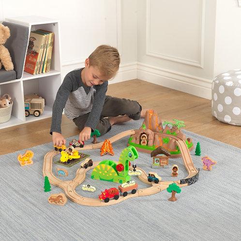 σετ παιχνιδιού με ξύλινο τραινάκι και δεινόσαυρους της kidkraft