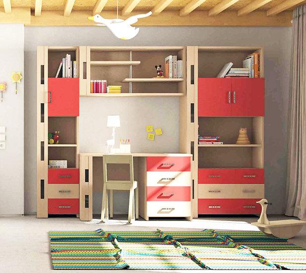 παιδικό-εφηβικό γραφείο με επικαθήμενη βιβλιοθήκη, από ξύλο, σε πολλά χρώματα