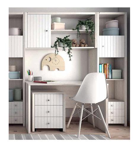 παιδικό-νεανικό γραφείο με συρταριέρα, κρεμαστή βιβλιοθήκη και στήλες βιβλιοθήκες με ράφια, πόρτες και συρτάρια