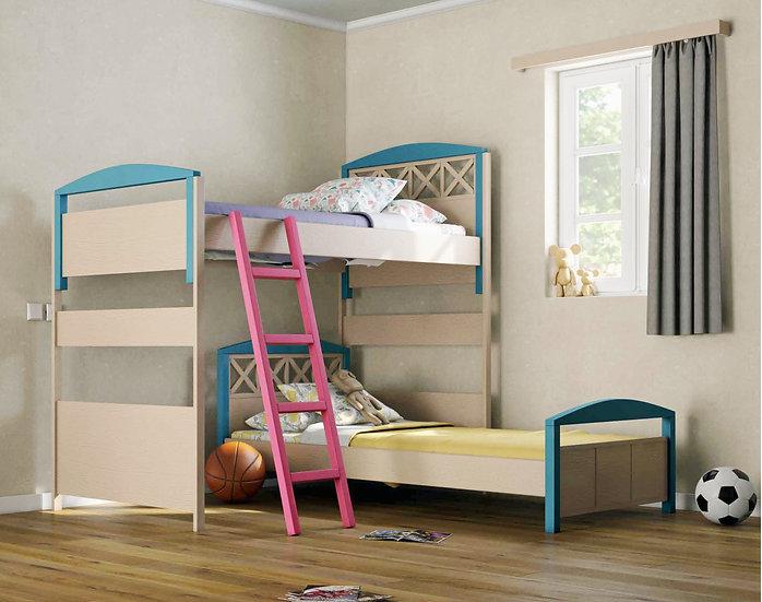 γωνιακή διπλή κουκέτα με 2 κρεβάτια ανεξάρτητα σε πολλά χρώματα ξύλου, για στρώμα 90Χ200