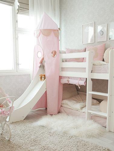 κουκέτα Δανίας με πύργο ροζ σε λευκό ξύλο,kouketes masif xilo