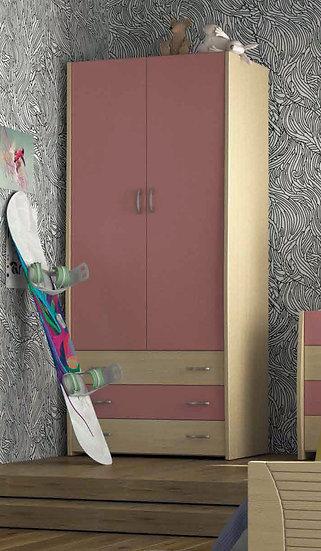 ξύλινη δίφυλλη ντουλάπα με 3 συρτάρια