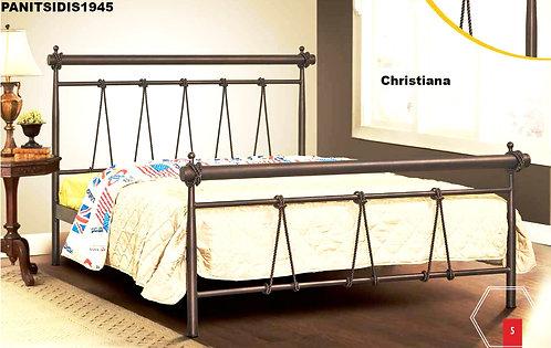 ημίδιπλο μεταλλικό κρεβάτι σε χρώμα σκουριάς, για στρώμα 110 Χ 190/200