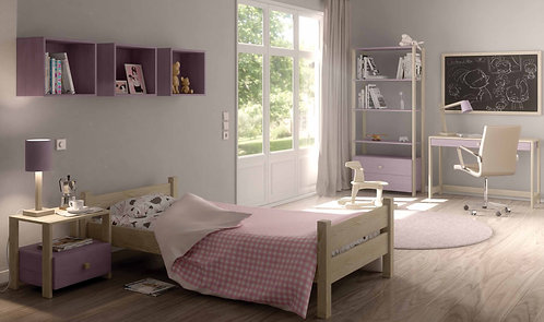 μονό ξύλινο παιδικό εφηβικό κρεβάτι σε πολλά χρώματα, για στρώμα 90Χ200