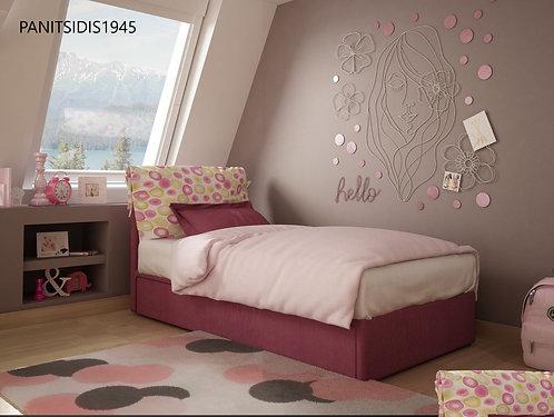 Ημίδιπλο ντυμένο κρεβάτι με 2ο συρόμενο κρεβάτι σε πολλά χρώματα υφασμάτων