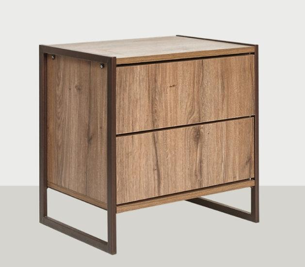 Κομοδίνο με 2 συρτάρια μέταλλο-ξύλο