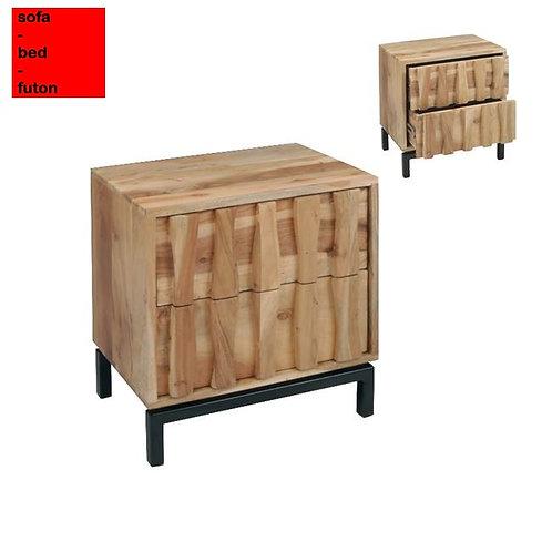κομοδίνο από μασίφ ξύλο με 2 συρτάρια