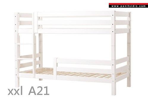 κουκέτα από μασίφ ξύλο σε λευκή λάκα με 2 κρεβάτια μονά και μεγάλο προστατευτικό κάτω