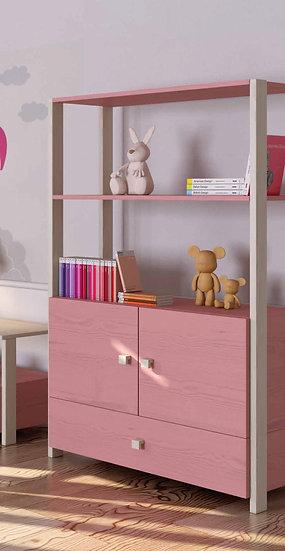 ξύλινη βιβλιοθήκη με πόρτες και συρτάρι παιδική-εφηβική