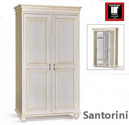 2φυλλη ντουλάπα από ξύλο σε κλασσικό σχέδιο και σε χρώμα πατίνας λευκής