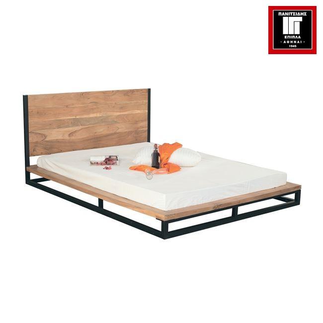διπλό κρεβάτι από μασίφ ξύλο ακακίας για στρώμα 150Χ200 με μεταλλική μαύρη βάση