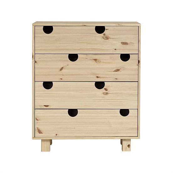 χαμηλή συρταριέρα από μασίφ ξύλο με 4 συρτάρια, σε διάφορα χρώματα