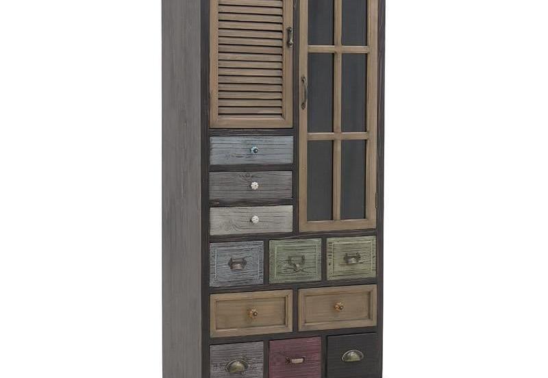 Βιτρίνα με πόρτες και συρτάρια σε διάφορα χρώματα, από ξύλο