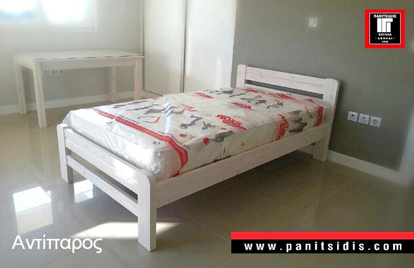 ημίδιπλο κρεβάτι μασίφ ξύλο παιδικό έφηβικό για στρώμα 110Χ190/200