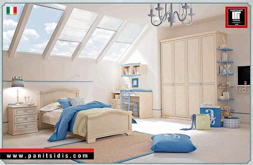 ιταλικό νεανικό εφηβικό κρεβάτι πατίνα εκρού αντικέ