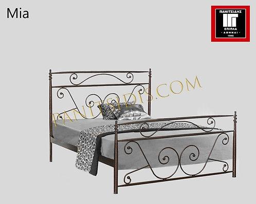 διπλό μεταλλικό-σιδερένιο κρεβάτι για στρώμα 150Χ200 σε πολλά χρώματα βαφής