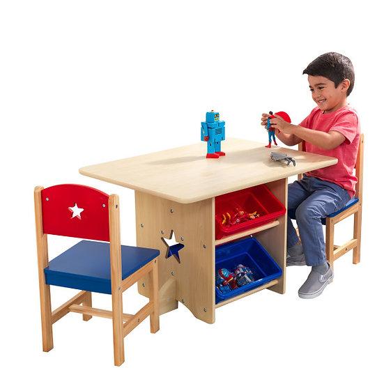 σετ παιδικής τραπεζαρίας με 2 καρέκλες, τραπέζι και 4 καλάθια αποθήκευσης