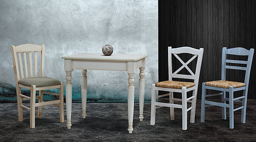 ξύλινο παραδισιακό τραπέζι 80 Χ 70 σε πολλά χρώματα λάκας και πατίνας
