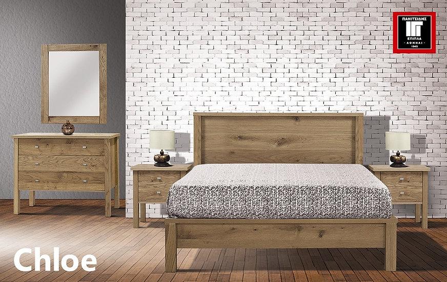 κρεβάτι διπλό για στρώμα 140Χ200 σε φυσικό δρυ από ξύλο