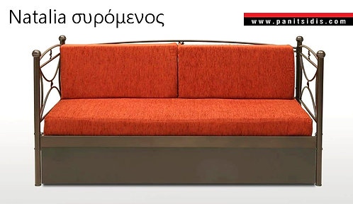 Μεταλλικός καναπές κρεβάτι με 2ο συρόμενο κρεβάτι-μηχανισμό μαζί με 2 στρώματα και μαξιλάρες πλάτης