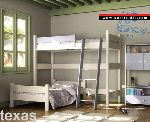 γωνιακή ημίδιπλη κουκέτα με 2 κρεβάτια από ξύλο σε πολλά χρώματα