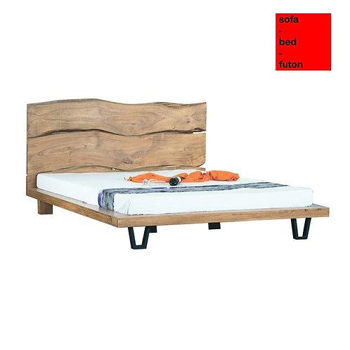 διπλό κρεβάτι για στρώμα 160Χ200 από μασίφ ξύλο και μαύρα μεταλλικά πόδια