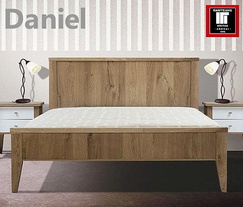 ημίδιπλο ξύλινο κρεβάτι για στρώμα 110Χ200 σε φυσικό δρυ