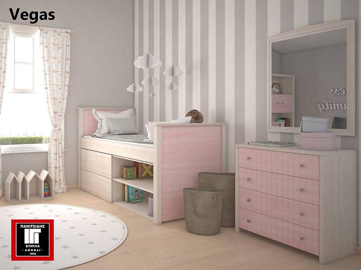 υπερυψωμένο κρεβάτι μονό με 2 συρτάρια και ράφια σε πολλά χρώματα