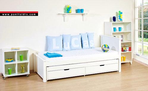 hoppekids Maja bed Athens,κρεβάτι ξύλινο μονό σε λευκή λάκα νερού με 2ο συρόμενο κρεβάτι και 2 συρτάρια