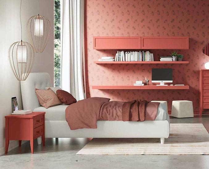 ντυμένο μονό κρεβάτι ιταλικής παραγωγής