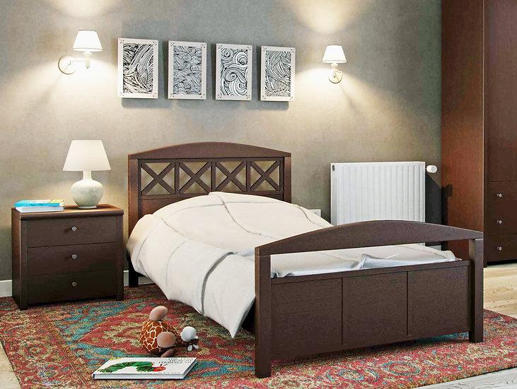 μονό ξύλινο κρεβάτι, με κλασσικό σχέδιο, για στρώμα 90Χ190/200 εκ.