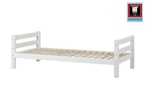 μονό κρεβάτι παιδικό από μασίφ ξύλο πεύκου σε λευκή βαφή νερού
