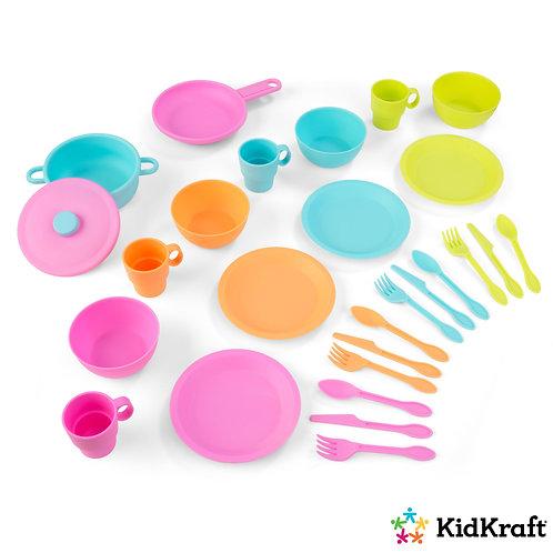 kidkraft σετ κουζινικών πιάτα μαχαιροπήρουνα φλυτζάνια