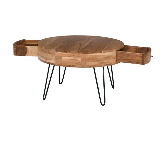 στρογγυλό τραπεζάκι σαλονιού από μασίφ ξύλο
