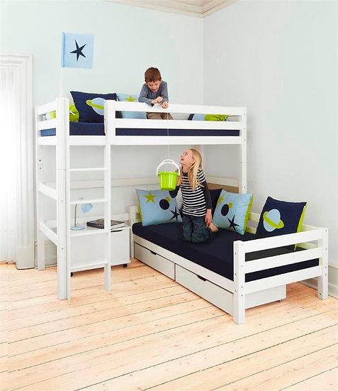 Κουκέτα με 2 κρεβάτια γωνία από μασίφ ξύλο