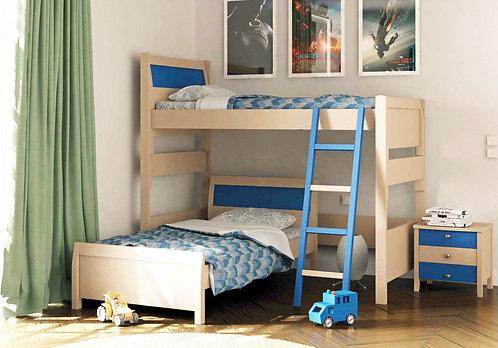 υπερυψωμένη μονή κουκέτα με 2 κρεβάτια γωνία σε πολλά χρώματα
