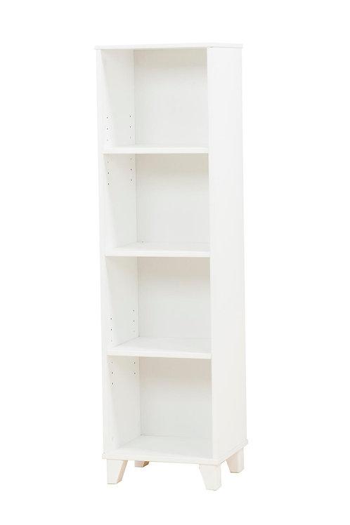 βιβλιοθήκη παιδική ξύλινη στήλη στενή λευκή λάκα