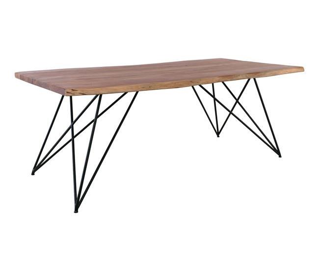 μασίφ ξύλινο τραπέζι με μεταλλική βάση