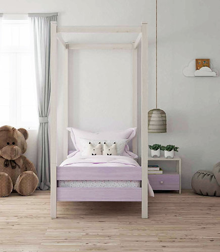 μονό παιδικό-εφηβικό κρεβάτι με ουρανό ξύλινο